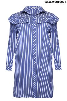 Glamorous Curve Striped Shirt Dress
