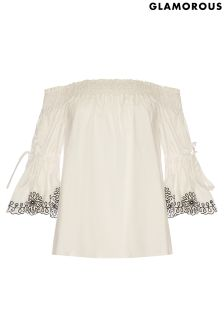 Glamorous Curve Bardot Embroidered Top