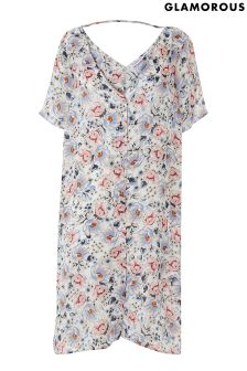 Glamorous Curve Floral Button Front Dress