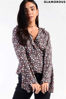 Glamorous Printed Wrap Front Top