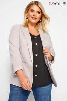 Yours Curve Stone Ribbed Zip Pocket Blazer Jacket