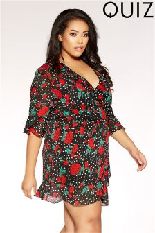 Quiz Curve Polka Dot & Flower Print Frill Wrap Dress