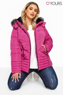 Yours Curve Pu Panelled Padded Jacket
