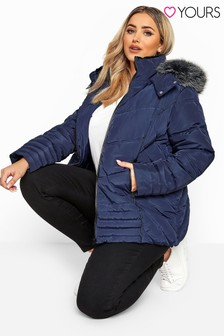 Yours Curve PU Trim Panelled Padded Jacket