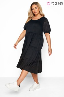 Yours Curve Broderie Anglaise Sleeve Tiered Smock Midi Dress