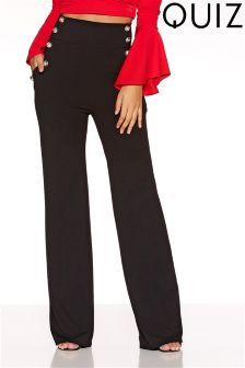 Quiz High Waisted Button Front Trousers