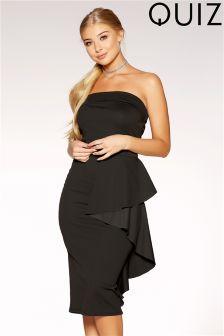 Quiz Bardot Ruffle Side Midi Dress