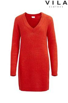 Vila Knitted V neck Dress