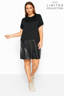 Yours Curve Limited Collection PU Snake Print Hem T-Shirt Dress