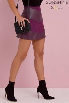 Sunshine Soul Chevron PU Mini Skirt
