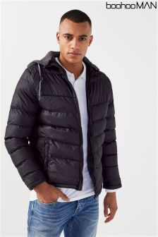 Boohoo Man Jersey Hooded Quilted Jacket
