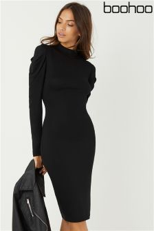 Boohoo Puff Shoulder Jersey Bodycon Dress