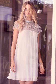 Свободное платье мини с высоким воротом и отделкой Lipsy