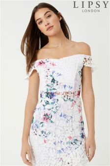 Lipsy Printed Lace Co-ord Bardot Top