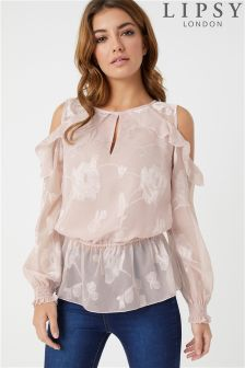 Lipsy Cold Shoulder Burnout Blouse