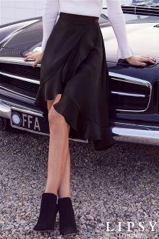 Lipsy Satin Frill Midi Skirt