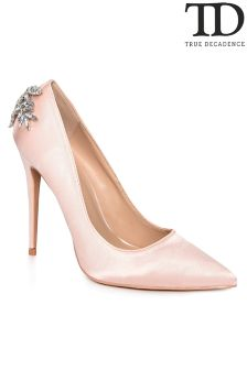 True Decadence Embellished Satin Court Shoes