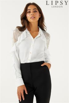 Lipsy Lace Shoulder Shirt
