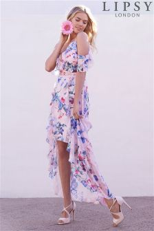 Lipsy Petite Imogen Printed Frill Hi Low Maxi Dress