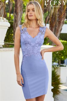 Lipsy Loves Kate Petite V neck Lace Appliqué Dress