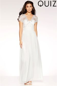Quiz Embellished Bodice V neck Maxi Dress