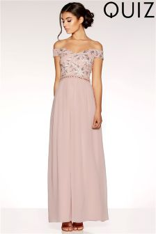 Quiz Bardot Embroidered Sequin Maxi Dress
