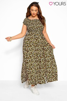 Yours Curve Ditsy Floral Shirred Bardot Maxi Dress