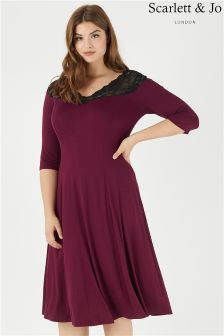 Scarlett & Jo Off The Shoulder Lace Jersey Dress