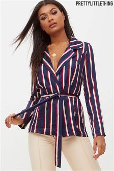 PrettyLittleThing Striped Belted Blazer