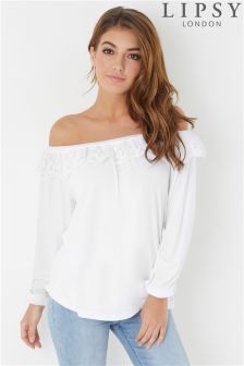 Lipsy Lace Crochet Bardot Top