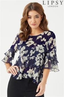Lipsy Floral Ruffle Short Sleeve Top