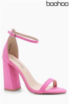 Boohoo Block Heel 2 Strap Sandals