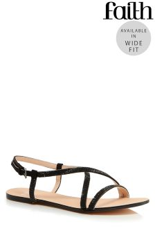 Faith Wide Fit Diamanté  Cross Over Sandals