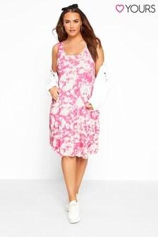 Yours Curve Tie Dye Sleeveless Drape Pocket Dress