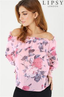 Lipsy Ruffle Floral Bardot Blouse
