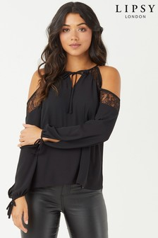 Lipsy Lace Cold Shoulder Blouse