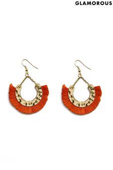 Glamorous Festival Fringe Drop Hoop Earrings