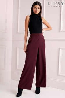 Lipsy Horn Button Tailored Wide Leg Trousers