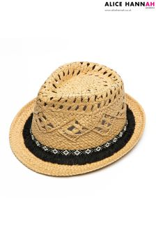 Alice Hannah Ladies Paper Trilby With Black Tassel Trim