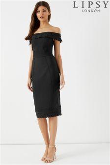 Lipsy Zigzag Bandage Bardot Dress
