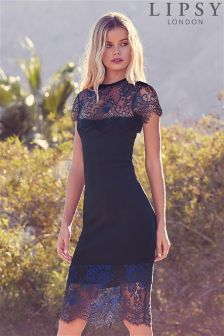 Lipsy Cap Sleeve Lace Bandage Dress