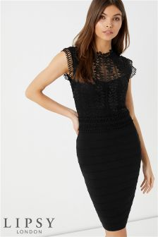 Lipsy Lace Mix Bandage Dress