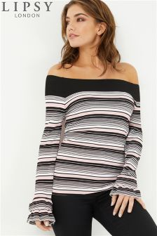 Lipsy Stripe Ruffle Sleeve Jumper