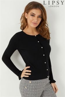 Lipsy Diamanté Button Frill Cardigan