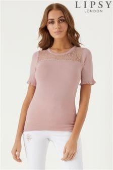Lipsy Lace Trim T-Shirt