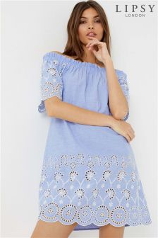 Lipsy Chambray Bardot Dress
