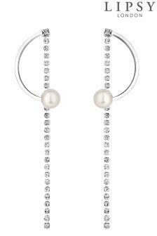 Lipsy Pearl And Crystal Half Hoop Earrings