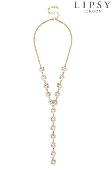 Lipsy Pearl And Crystal Hoop Lariat Necklace