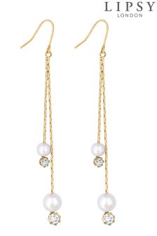 Lipsy Pearl And Crystal Multi Drop Earrings