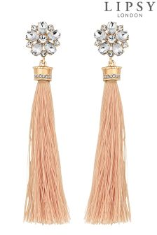 Lipsy Crystal Floral Tassel Drop Earrings